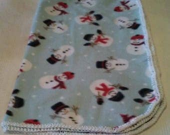 Soft Snowman Child or Baby Blanket With Hand-Made White Crochet Trim