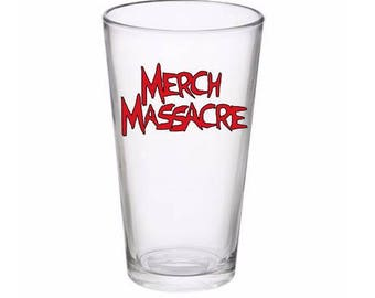 Merch Massacre Logo Horror Pint Wine Glass Tumbler Alcohol Drink Cup Barware Halloween Scary