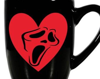 Scream Ghostface Slasher Killer Valentine's Day Love Heart Horror Mug Coffee Cup Gift Home Decor Kitchen Halloween Bar