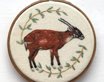 "Saola - Hand Embroidered 4"" Hoop Art"