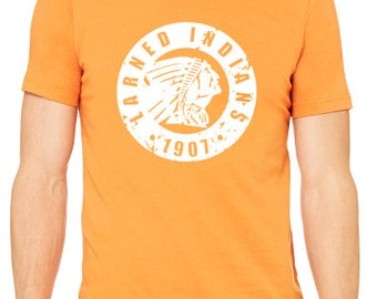 Vintage Larned Indians Shirt / Larned Indians Est. 1907 / School Spirit Apparel / School Spirit Shirt / Orange And Black / Indians Shirt