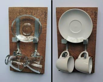 Rustic Modern Espresso Set (2-cup) Wall mounted     Oak, Aluminium and glass     Modern     Contemporary     Coffee