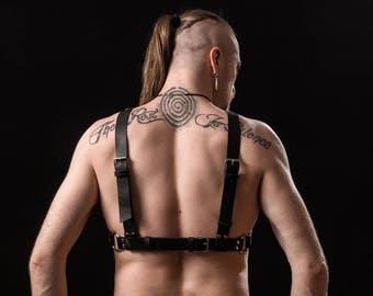 Men's O ring leather harness
