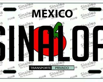 SINALOA Mexico white aluminum License Plate  SIN estado MX