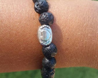 Heart inspiration black lava bead essential oil bracelet