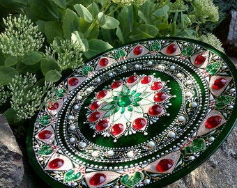 Eastern Plate Colorful Plate Hand Painted Plate Glass Green Red Stones Decorative Plate Original design Mandala Eastern Art Home gifts