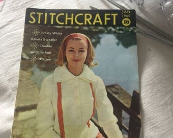 Jan 1960 Stitchcraft Magazine, Knitting patterns, Crochet, Embroidery