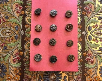 12 vintage metal buttons/decorative antique buttons