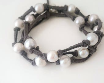 Wrap gray bracelet with huge natural pearls