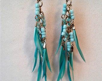 blue Feather Dangle Earrings