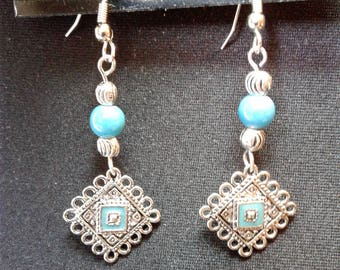 Silver Tone Turqoise Like Danlge Earrings