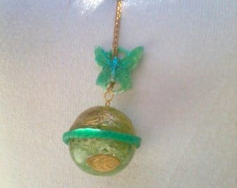 "Pendant ""my little fairy spheres"" fluorescent Butterfly gold bubble effect"