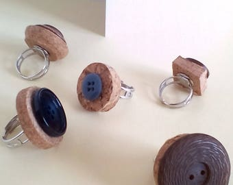 Set 5 rings with buttons/vintage style rings
