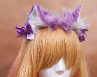Lavender Kitty Fur Ears Headband