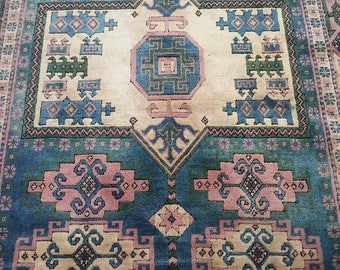 Oushak Rug Area Rug Turkish  Vintage Rug, Original Pale Blue Colors floor carpet, Pile Pattern Carpet,Handmade Carpet,,152x216cm,Rugs,