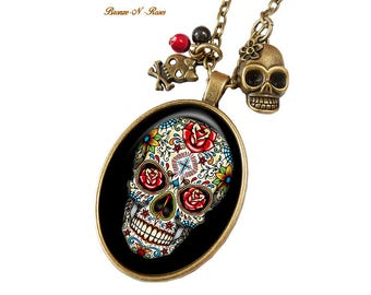 Mexican Skull gift skull flowers costume jewelry necklace