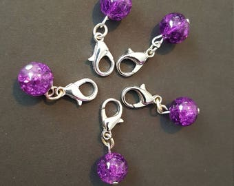 Purple Sparkly Glass Bead Stitch Markers