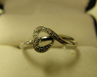 Heart Diamond Sterling Silver Ring - Size 7 1/2