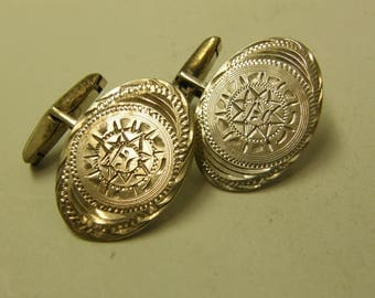 Mens Vintage Sterling Silver Cuff Links - Aztec Design