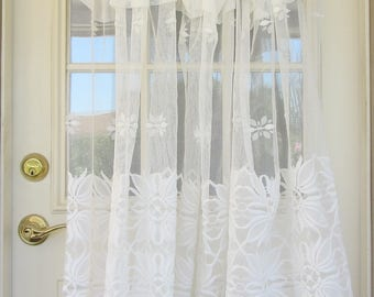 "Vintage 60s – 70s White Sheer Curtains 2 Panels 40"" long x 200""W and 70""W"