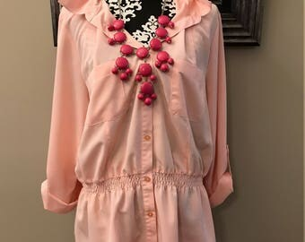 Pink Elementz Ladies Womens Button Up Shirt - Cinched Elastic Waist - 1980's/1990's - Size XL