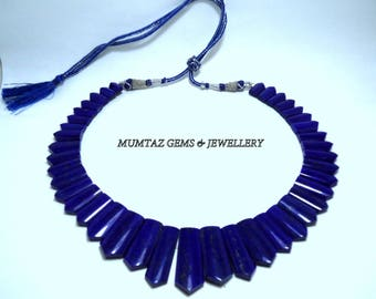 Merry Christmas Offer Natural Lapis Lazuli Necklace Top Quality Rear Necklace Diffrent Look Awesome Design 410 Cts. 16 Inches Necklace MGJ