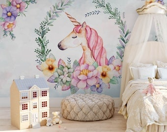 einhorn wandbild etsy. Black Bedroom Furniture Sets. Home Design Ideas