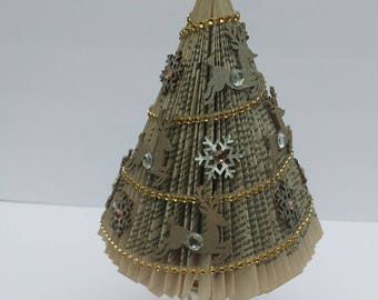 Repurposed book Christmas tree - Deer and Snowflakes - Silver and Gold
