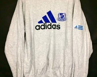 Off 10%!! Vintage 90s Adidas Yokohama Marinos Big Logo Sweatshirt