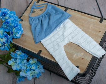 The Kayleigh-Photography prop girls- romper-matching tieback- sleeper-pant-sitter made to order-newborn- nuteral -romper