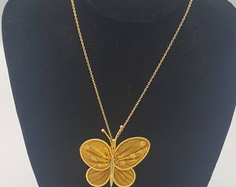 Vintage butterfly pendant & chain