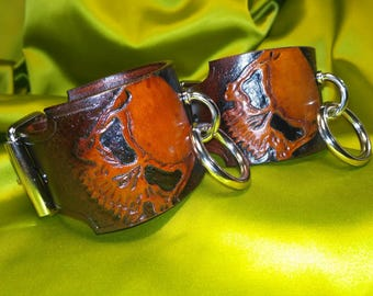 "BDSM Tooled Skull Cuffs, Submissive Leather Cuffs ""Skull"""