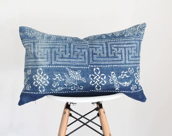 14 x 22 White and Blue Chinese Hmong Batik Lumbar Pillow Cover, Boho Pillow Cover, Nursery Pillow