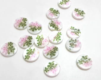 Vintage painted button, white mother of pearl, shell flower button, sewing button, MOP button, 11mm, 2pcs