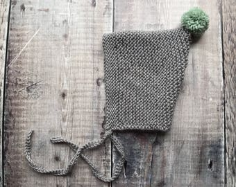 Baby pixie bonnet - Spring bonnet - handmade knitted hat - kids pom pom - newborn bonnet - baby shower gift - greys and yellows