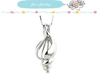 Fine 925 Sterling Silver Pearl Cage Pendant BEACH SHELL for Akoya Pearl Oyster Locket