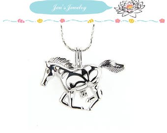 Bulk of 5pcs - Choose bulk of pearl cages pendant HORSE for your pearl