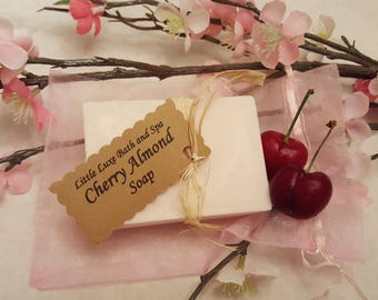 Cherry Almond Soap - Handmade, Bridal Party Favor, Gift for Her, Natural, Bath and Body Gift, Bath Favor, Scented Soap