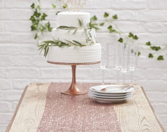 Beautiful Botanics Rose Gold Sequinned Table Runner