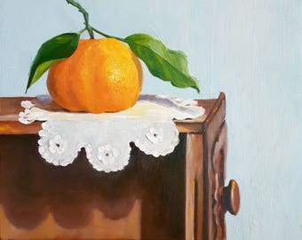 "Daily Painting- ""Mandarin On Vintage"" Netty Kozlovsky Original Oil Painting, Still Life"