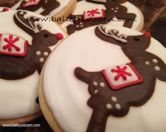Rudolph Cookies | Custom decorated Christmas cookies | Red nosed reindeer cookie | Nostalgic sweets | Holiday dessert