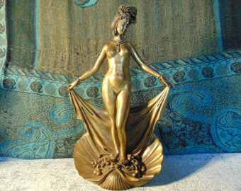 Antique Gilted Bronze Naked/Erotic Chinese Woman Statue