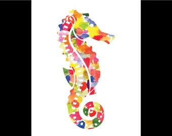 Watercolor Seahorse Print