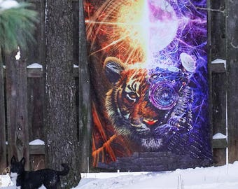 Two Tigers Tapestry Wall Hanging | Fractal Tapestry | Animal Wall Art | Orange Tiger Wall Decor | Premium Tapestry by Lucid Eye Studios