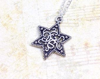 Star Charm Necklace, Filigree Star Pendant, Galaxy Jewellery, Gothic Star Charm, Gothic Necklace, Friendship Jewellery, Galaxy Necklace