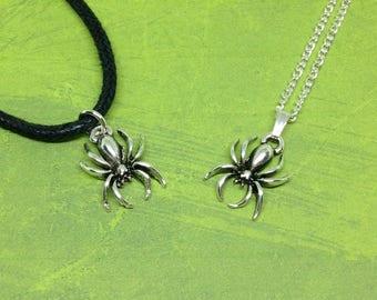 Spider Necklace, Halloween Necklace, Gothic Jewelry, Silver Spider Charm, Spider Pendant, Arachnid Jewellery, Goth Necklace, Halloween Charm