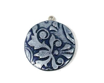 Silver Coloured Damask Pendant - Polymer Clay - Clay Pendant - Necklace - Damask Design - OOAK - Round - Polymer Clay Jewelry - Silver