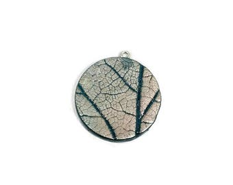 Leaf Vein Pendant - Leaf Pendant - Leaf Jewelry - Handstamped - Polymer Clay Necklace - Real Leaf Impression - Autumn - Oak Leaf - Fall