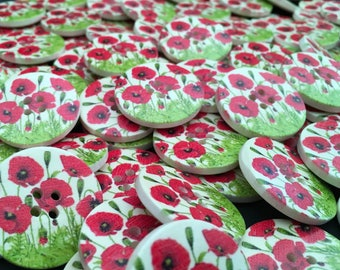 6 Poppy Field Wooden Buttons, 30mm,Poppies,Remembrance,Heroes,Soldiers,Fallen,Military,November,Armed Forces,British Legion,Service,Veteran