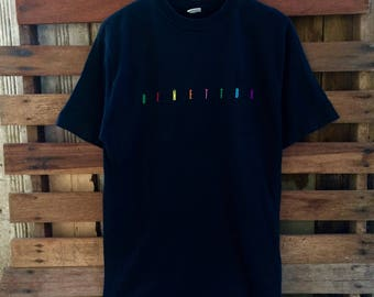 Vintage 90s united colors of benneton t-shirt embroidery colourful spellout !!